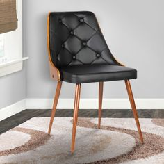 Armen Living Lily Walnut/Black Faux Leather Mid-century Dining Chair | Overstock.com Shopping - The Best Deals on Dining Chairs