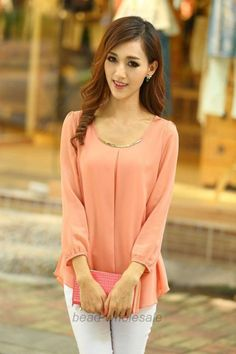 c7431e69309 Korean Fashion Women s Loose Chiffon Tops Long Sleeve Shirt Casual Blouse.  Western Outfits WomenParty Dresses For WomenEvening DressesFormal ...
