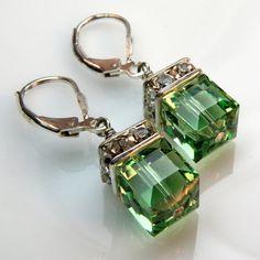 Peridot Crystal Earrings Green Silver Drop Wedding by fineheart, $28.00