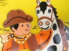 Vintage Seventies Cowboy Pony Wooden Puzzle - PlaySkool