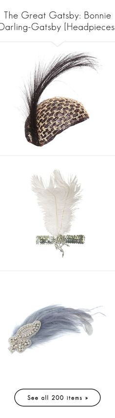 """""""The Great Gatsby: Bonnie Darling-Gatsby [Headpieces]"""" by demiwitch-of-mischief ❤ liked on Polyvore featuring accessories, hats, headwear, black, antique hats, 1920s hats, roaring twenties hats, raffia hat, 1920s flapper hat and hair accessories"""