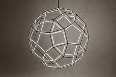 The Rhombi is a lightsource based on a wireframe composed out of thirty square faces, twelve pentagonal faces and twenty triangulair faces. Suitable for mood as well as technical lighting, pendant as well as standing.  Available in two sizes and multiple finishes. The Rhombi is part of the Kocohedron Collection, an ode to the beauty of mathematical shapes. Picture by: http://blanksmablanksma.nl/