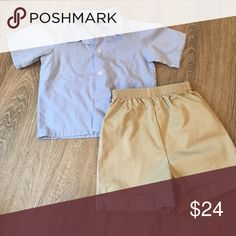 Button Down & Khaki Shorts Set 18mo Gently used, washed, clean, pet & smoke free home! Matching Sets