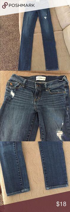 Kids Abercrombie jeans size 16 slim Dark wash excellent condition slightly distressed skinny Abercrombie kids jeans in size 16 slim. Only worn once abercrombie kids Jeans Skinny