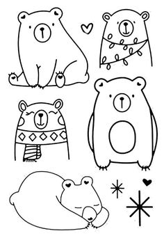 Doodle Drawings, Easy Drawings, Doodle Art, Animal Drawings, Diy Embroidery, Embroidery Patterns, Stitch Patterns, Bear Drawing, Animal Doodles