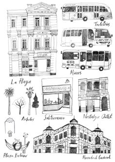 Sketches of Valparaiso! In Chile, South America