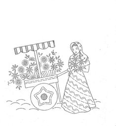 embroidery vintage Mexican flower peddlers