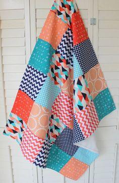 Baby Blanket, Unisex Patchwork Baby Blanket, Gender Neutral Nursery, Photo Prop, Stroller Blanket, Coral, Peach, Aqua Blue, Navy Blue, Teal