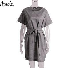 Gray Short Sleeve Dress With Pockets | Furrple