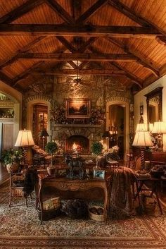 'Old World' House on Lake Toxaway Everything. Similar structure to the MBR. Replace fireplace with bed and get small electric fp for . Rustic Inn, Rustic Cabin Decor, Lodge Decor, Rustic Homes, Rustic Cabins, Western Decor, Rustic Wood, Log Home Decorating, Tuscan Decorating