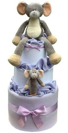 Luxury Neutral Nappy Cake - Ellmo Elephant