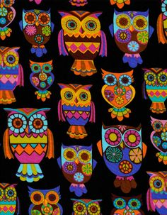 Bright Owl on Black by Alice Kennedy for Timeless Treasures owls on cotton novelty fabric Owl Art, Bird Art, Owl Books, Timeless Treasures Fabric, Owl Fabric, Owl Cartoon, Owl Pictures, Owl Always Love You, Novelty Fabric