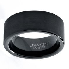 Black Tungsten Ring Black Men Tungsten Rings Black by GiftFlavors