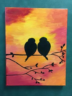 Acrylic Painting on Canvas by Lisa Fontaine.  Sunset.  Love Birds.  Love.  Birds.