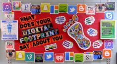 Digital Citizenship bulletin board with QR codes to anti-cyberbullying video, think before you post it video, digital etiquette quiz, and more