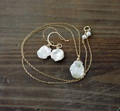White Keishi Pearl Necklace and Earrings Set on 14k Gold