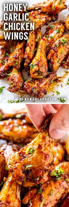 These honey garlic chicken wings are baked in the oven until nice and crispy and then coated in a sticky honey garlic sauce. Easy to adjust the recipe to make the wings mild in flavor or add a little extra kick! Easy Honey Garlic Chicken, Honey Chicken Wings, Honey Garlic Chicken Wings, Chicken Wing Sauces, Honey Garlic Sauce, Honey Wings, Oven Baked Chicken Wings, Crockpot Chicken Wings, Chiken Wings
