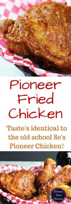 Shatteringly crisp, flavorful Pioneer Fried Chicken that tastes so nostalgic you will feel like you've gone back in time! Easy to make, only takes five minutes to make the wet batter and straight into (Fried Chicken) Turkey Recipes, Meat Recipes, Copycat Recipes, Cooking Recipes, Game Recipes, Syrian Recipes, Cooking Games, Fried Chicken Dinner, Fried Chicken Recipes