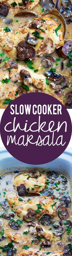 Slow Cooker Chicken Marsala - easy, saucy and flavorful slow cooked chicken in marsala sauce! Slow Cooker Chicken Marsala - easy, saucy and flavorful slow cooked chicken in marsala sauce! Crock Pot Recipes, Crockpot Dishes, Slow Cooker Recipes, New Recipes, Cooking Recipes, Favorite Recipes, Recipies, Chicken Crockpot Recipe, Crock Pots