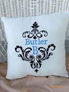 Monogrammed Pillow  Decorative Embroidered by JulieButlerCreations