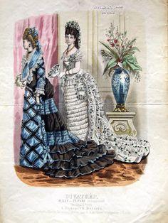 Evening dresses, 1875 Austria-Hungary (modern-day Hungary), Budapesti Bazárra