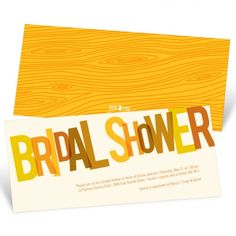 Bridal Shower Themes: Bridal Shower Invitations -- Golden Hues - Bold Colorful Type