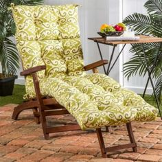 Chaise-Lounge-Cushion-Overstuffed-Outdoor-Patio-Chair-Replacement-Green-Floral