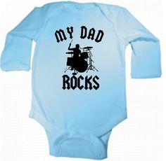 my dad rocks cool drums drummer long sleeve by KIDSROCKCLOTHING