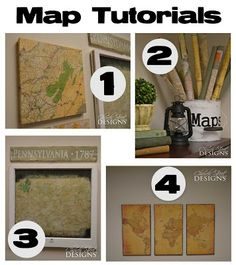 Canvas Map - Three paneled map - Rolled Maps - Old Window Map - 4 old vintage map tutorials. How to age a map. Church Street Designs