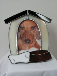 Dog+House+Picture+Frame+in+Stained+Glass+by+SerendipityGlassWrks,+$28.00