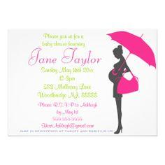 Magenta Silhouette Baby Shower Invitations