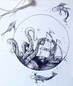 Tattoo octopus ship