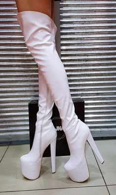 Very Comfy and Attractive. High Heel Hidden Platform Style Big sizes are also available. 15 cm and 19 cm heel height options Photo 19 cm White Patent Strech LeatherHigh quality, fashionable and Read Hot High Heels, Platform High Heels, Platform Ankle Boots, White Boots, Sexy Boots, White High Heel Boots, Thigh High Boots, Over The Knee Boots, High Heels Plateau