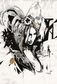 "#najaconradhansen Hane, 2012, ink on handmade paper, 39.5"" x 27.5"" Available: www.mirusgallery.com"