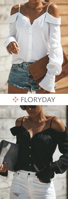Solid Polyester Boat Neckline Long Sleeve Blouses, solid blouse, blouses, stylish blouse, casual blouse, boat neckline, long sleeve, outlook of the day. Boat Fashion, Diva Fashion, Fashion Looks, Fashion Outfits, Womens Fashion, Fashion Design, Estilo Glamour, Cool Outfits, Summer Outfits