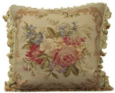 Light Blue Border Aubusson Pillow square - ThrowMeAPillow