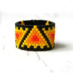 Colorful ethnic ring colorful peyote ring hippie by Anabel27shop