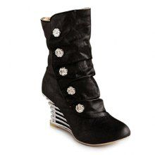 Trendy Buttons and Fold Design Short Boots For Women
