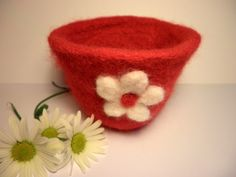 red felt flower pot £8.00 Conkers, Red Felt, October 2013, Felt Flowers, Flower Pots, Invitations, Club, Handmade, Hand Made