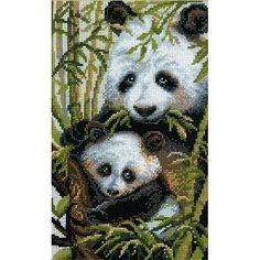 "Panda With Young Counted Cross Stitch Kit, 8.75"" x 15"", 10-Count"