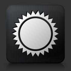 Black Square Button with Sun vector art illustration