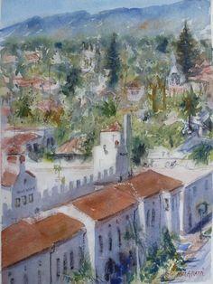 "Watercolor Original Painting  11"" x 15""  One of a kind Santa Barbara skyline   #Realism"