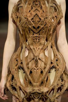"The ""Cathedral Dress"" by Dutch fashion designer Iris van Herpen, from her most recent Spring 2012 couture collection, ""Micro."" 3D printing, combined with a technique called 'copper electroplating bath.' via the creators project, post: dressing Bjork"