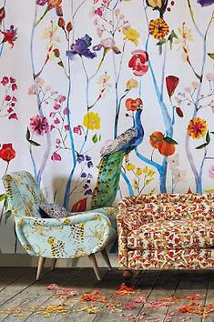 Create a customized accent wall with a stunning mural. Select from our vast collection of mural designs or upload your own to create a truly unique space. Chinoiserie, Arte Fashion, Wall Decor, Room Decor, Wall Wallpaper, Peacock Wallpaper, Custom Wallpaper, Wall Murals, Interior Inspiration