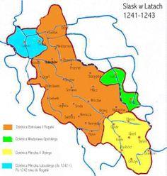 Duchies of Silesia 1241-1243 1241-1243 Orange = Bolesław II Blue = Mieszko Lubuski Light Green = Władysław Opolski Yellow = Mieszko II