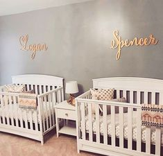 What a beautiful nursery! The custom name signs are made by The Gilded Line on Etsy. twins Large baby name sign, wood wall name sign, different font selections available Twin Baby Rooms, Twin Baby Girls, Baby Bedroom, Baby Room Decor, Baby Twins, Twin Room, Baby Boy, Room Baby, Twin Babies