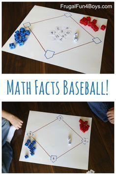 Math Facts Baseball (An Awesome Way to Practice Math!) - Frugal Fun For Boys and Girls Math Facts Baseball - Practice addition and subtraction facts! There's a great statistics lesson in here too. This would really be a great project for any elementary g Math Resources, Math Activities, Baseball Activities, Math Night, Math Multiplication, Subtraction Games, Fractions, Multiplying Integers, Math Intervention