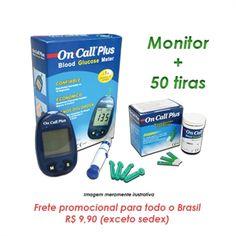 Monitor de Glicose Semi Completo + 50 tiras de teste (frasco) - On Call Plus - Super Saudável Shopping