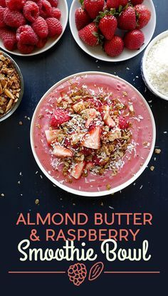Almond Butter and Raspberry Smoothie Bowl | #recipe #Healthy @xhealthyrecipex |