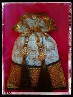 Gold and brown potli bag! Indian ethnic bag!!